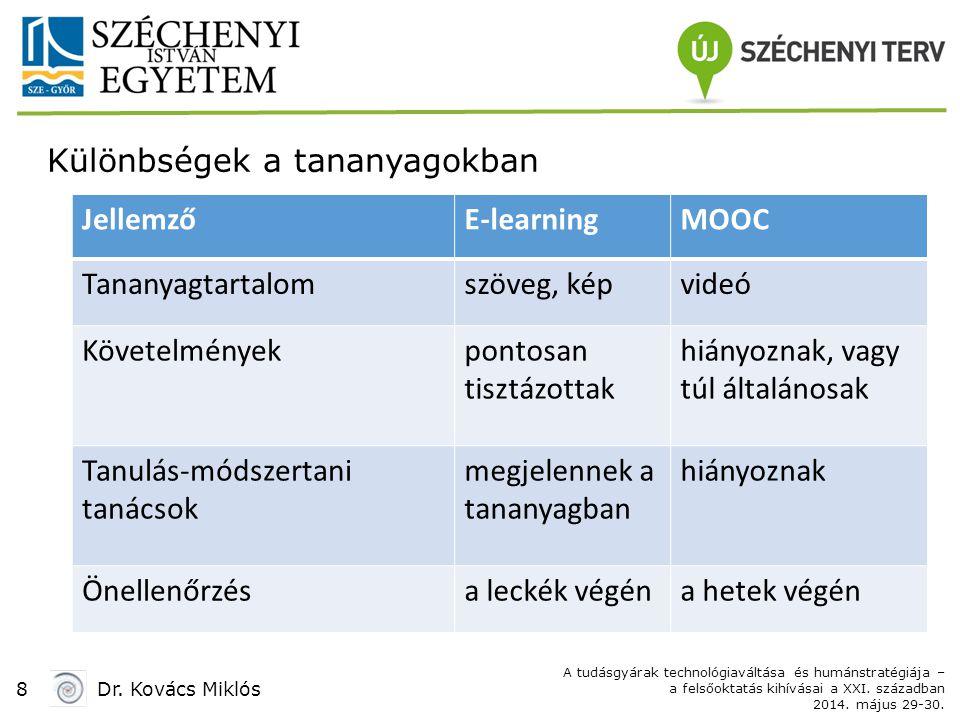 8Dr. Kovács Miklós A tudásgyárak technológiaváltása és humánstratégiája – a felsőoktatás kihívásai a XXI. században 2014. május 29-30. Különbségek a t