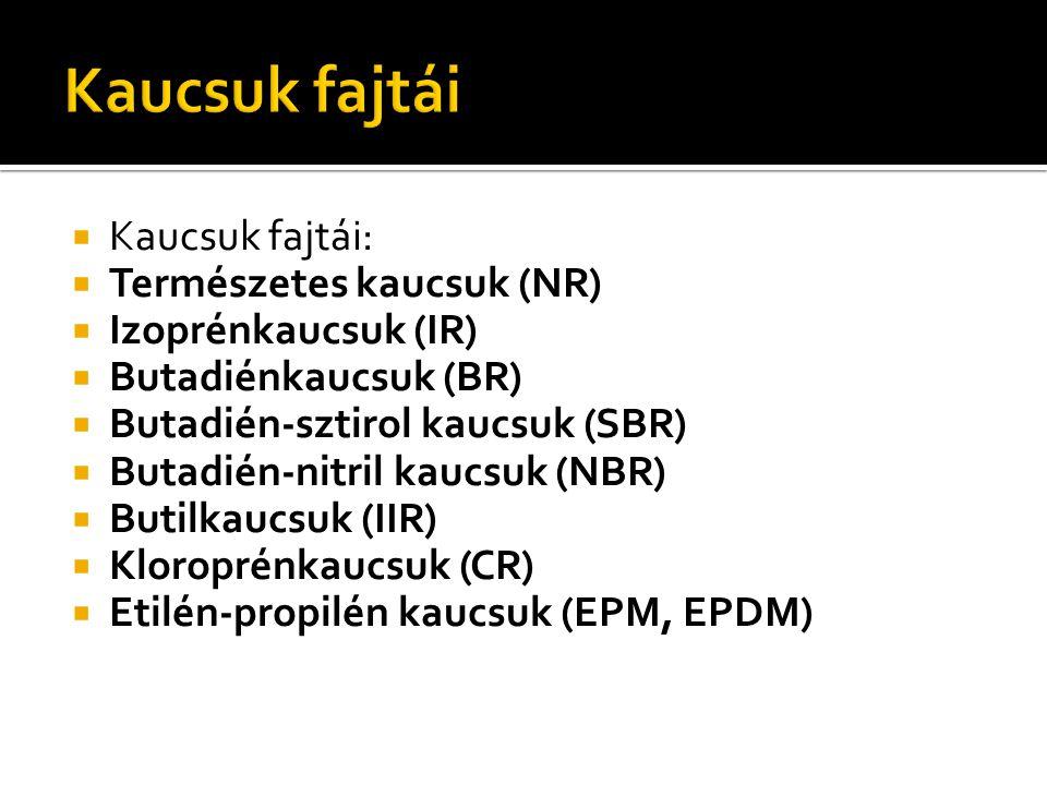  Kaucsuk fajtái:  Természetes kaucsuk (NR)  Izoprénkaucsuk (IR)  Butadiénkaucsuk (BR)  Butadién-sztirol kaucsuk (SBR)  Butadién-nitril kaucsuk (