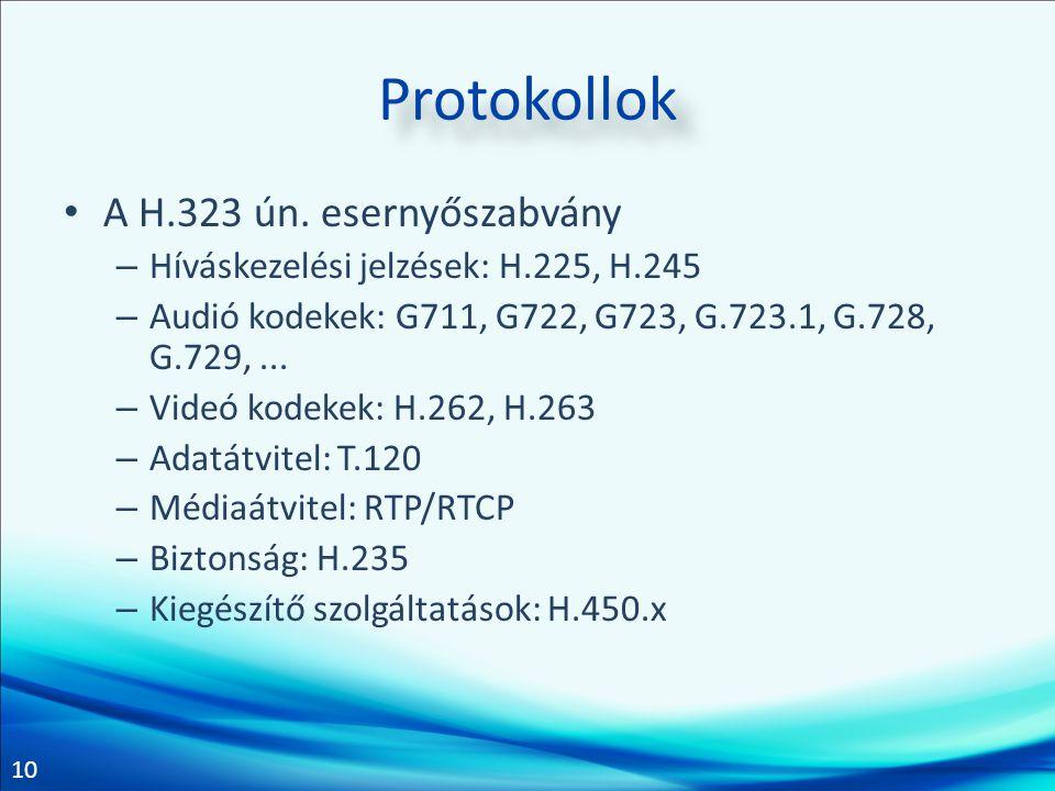10 Protokollok • A H.323 ún. esernyőszabvány – Híváskezelési jelzések: H.225, H.245 – Audió kodekek: G711, G722, G723, G.723.1, G.728, G.729,... – Vid