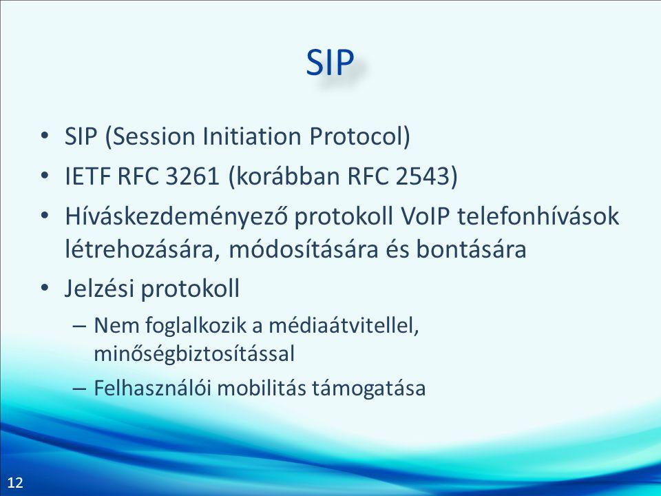 12 SIP • SIP (Session Initiation Protocol) • IETF RFC 3261 (korábban RFC 2543) • Híváskezdeményező protokoll VoIP telefonhívások létrehozására, módosí