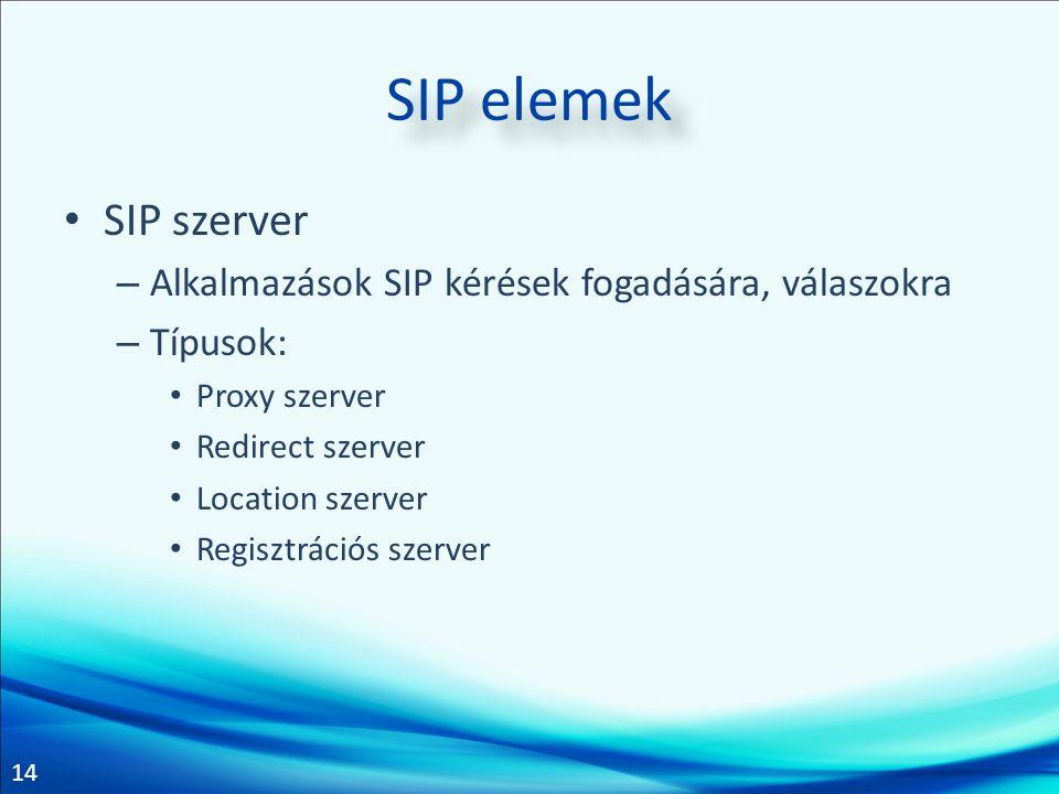 14 SIP elemek • SIP szerver – Alkalmazások SIP kérések fogadására, válaszokra – Típusok: • Proxy szerver • Redirect szerver • Location szerver • Regis