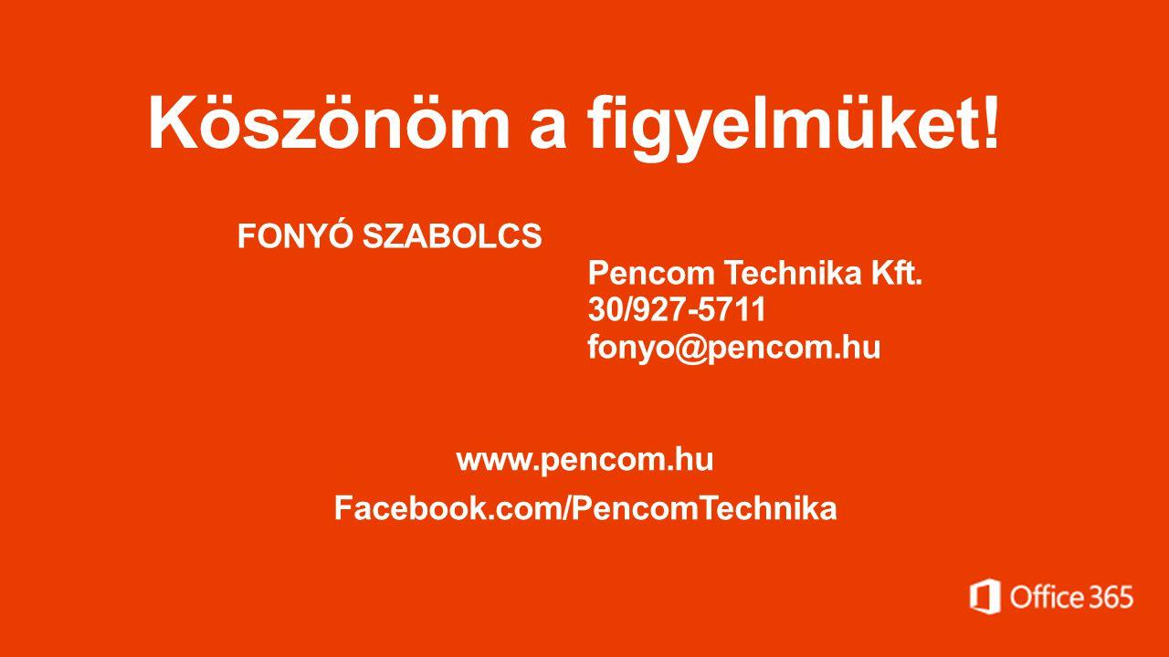 Köszönöm a figyelmüket. FONYÓ SZABOLCS Pencom Technika Kft.