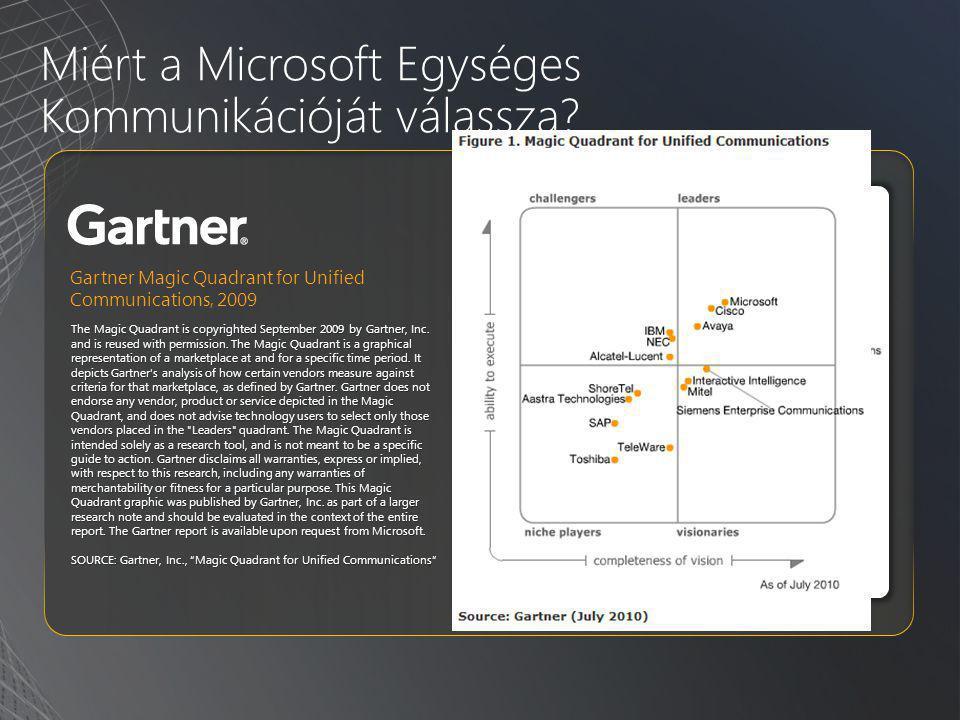 Miért a Microsoft Egységes Kommunikációját válassza? The Magic Quadrant is copyrighted September 2009 by Gartner, Inc. and is reused with permission.