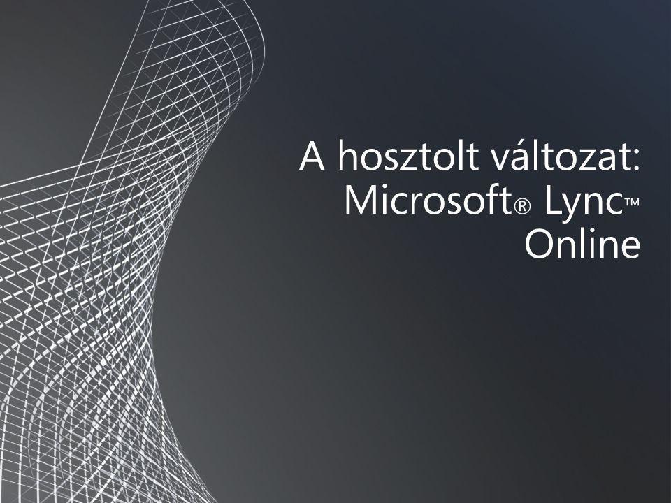 A hosztolt változat: Microsoft ® Lync ™ Online