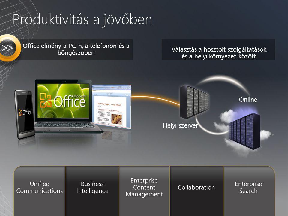 Választás a hosztolt szolgáltatások és a helyi környezet között Office élmény a PC-n, a telefonon és a böngészőben Helyi szerver Online Produktivitás