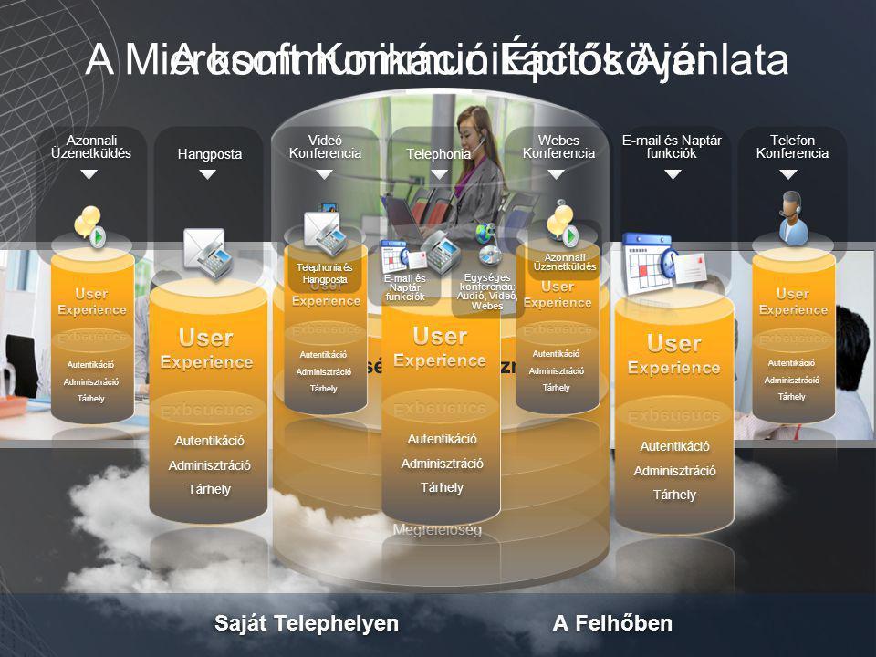Autentikáció Adminisztráció Tárhely Megfelelőség Autentikáció Adminisztráció Tárhely Megfelelőség Telefon Konferencia E-mail és Naptár funkciók Webes