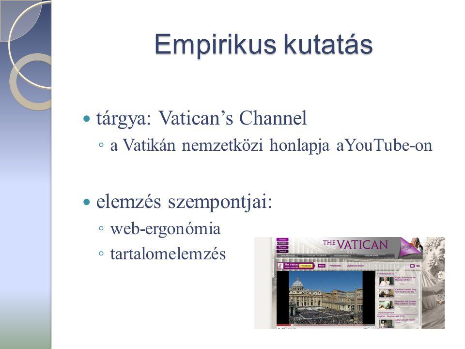 Empirikus kutatás  tárgya: Vatican's Channel ◦ a Vatikán nemzetközi honlapja aYouTube-on  elemzés szempontjai: ◦ web-ergonómia ◦ tartalomelemzés