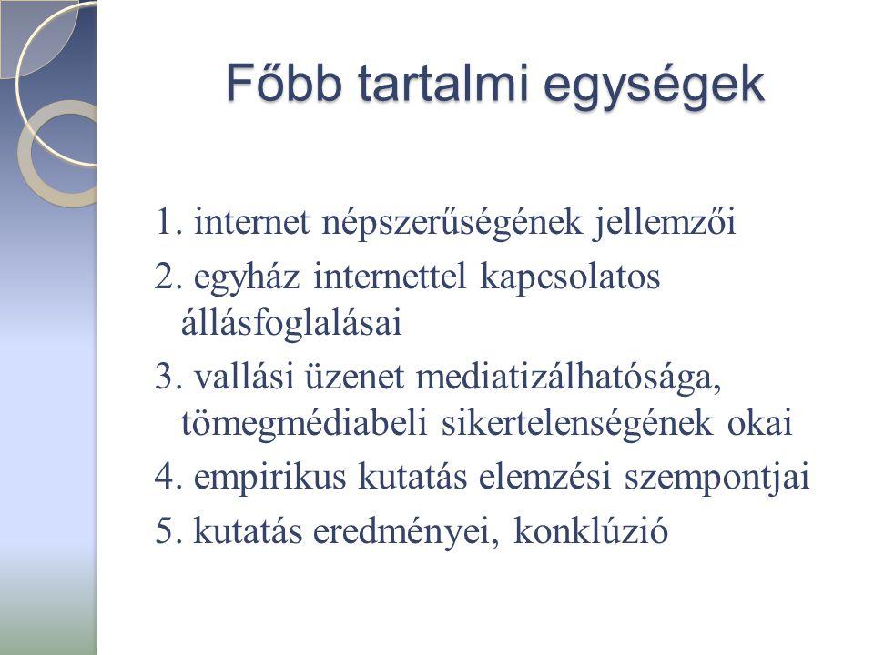 Főbb tartalmi egységek 1. internet népszerűségének jellemzői 2. egyház internettel kapcsolatos állásfoglalásai 3. vallási üzenet mediatizálhatósága, t