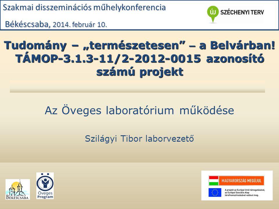 """Tudomány – """"természetesen"""" – a Belvárban! TÁMOP-3.1.3-11/2-2012-0015 azonosító számú projekt Az Öveges laboratórium működése Szilágyi Tibor laborvezet"""