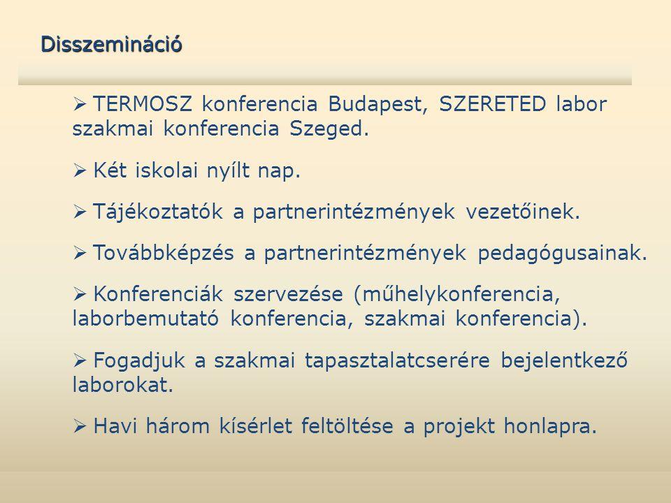  TERMOSZ konferencia Budapest, SZERETED labor szakmai konferencia Szeged.  Két iskolai nyílt nap.  Tájékoztatók a partnerintézmények vezetőinek. 