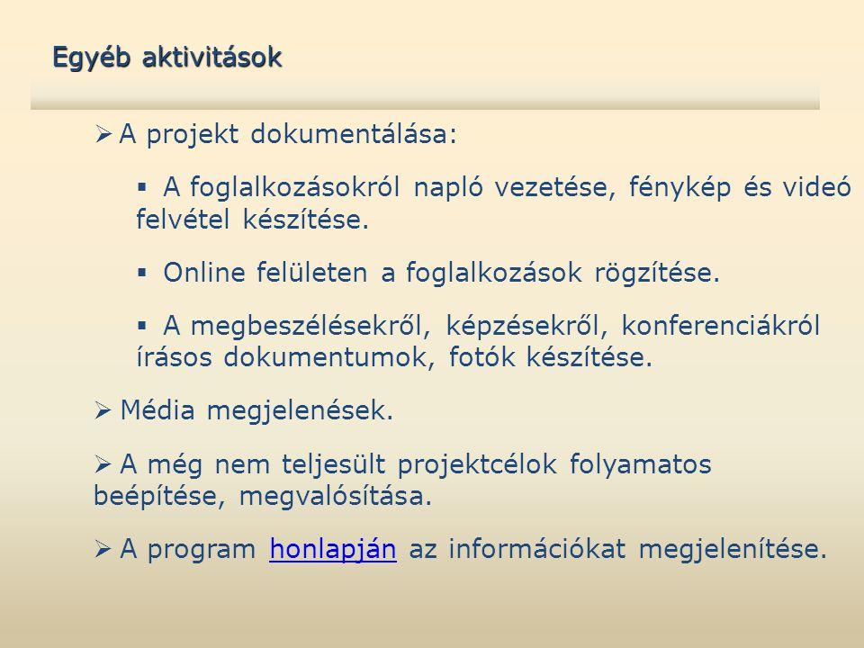  A projekt dokumentálása:  A foglalkozásokról napló vezetése, fénykép és videó felvétel készítése.  Online felületen a foglalkozások rögzítése.  A
