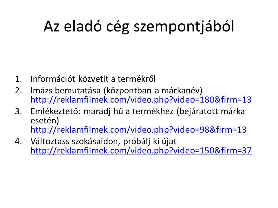 Az eladó cég szempontjából 1.Információt közvetít a termékről 2.Imázs bemutatása (központban a márkanév) http://reklamfilmek.com/video.php?video=180&firm=13 http://reklamfilmek.com/video.php?video=180&firm=13 3.Emlékeztető: maradj hű a termékhez (bejáratott márka esetén) http://reklamfilmek.com/video.php?video=98&firm=13 http://reklamfilmek.com/video.php?video=98&firm=13 4.Változtass szokásaidon, próbálj ki újat http://reklamfilmek.com/video.php?video=150&firm=37 http://reklamfilmek.com/video.php?video=150&firm=37