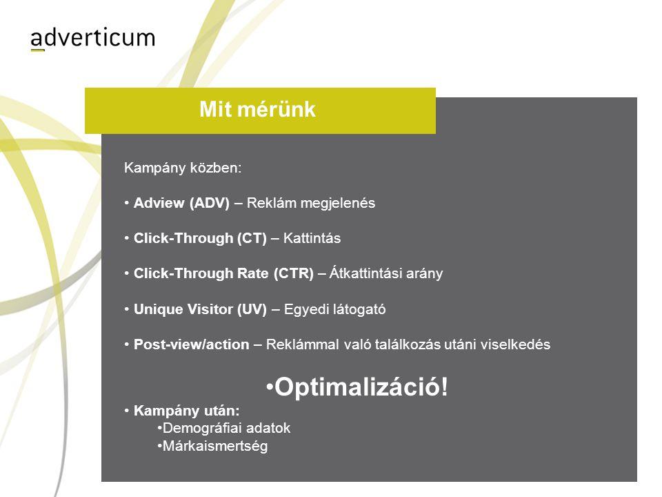 Mit mérünk Kampány közben: • Adview (ADV) – Reklám megjelenés • Click-Through (CT) – Kattintás • Click-Through Rate (CTR) – Átkattintási arány • Uniqu
