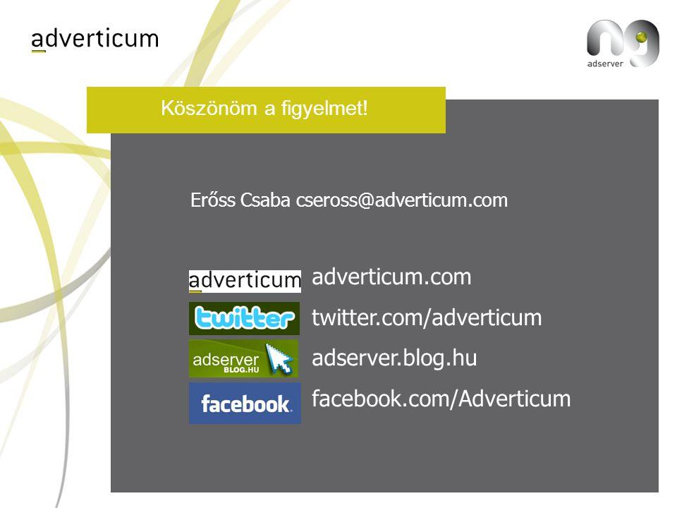 Köszönöm a figyelmet! adverticum.com twitter.com/adverticum adserver.blog.hu facebook.com/Adverticum A prezentáció elérhető: www.adverticum.com/szekro