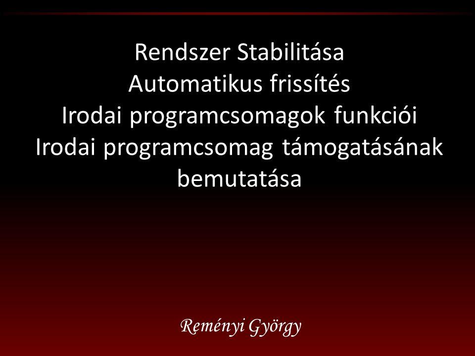 Rendszer Stabilitása Automatikus frissítés Irodai programcsomagok funkciói Irodai programcsomag támogatásának bemutatása Reményi György