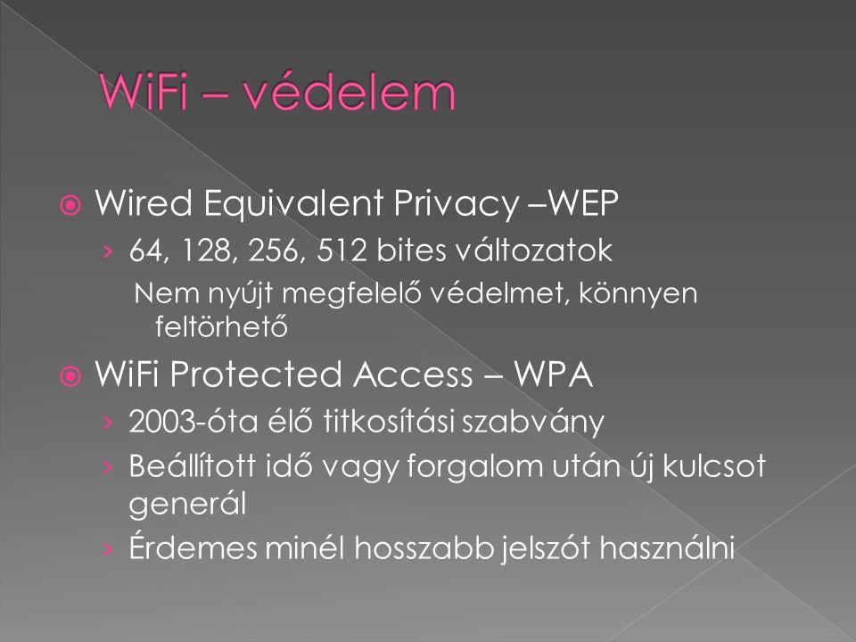  Wired Equivalent Privacy –WEP › 64, 128, 256, 512 bites változatok Nem nyújt megfelelő védelmet, könnyen feltörhető  WiFi Protected Access – WPA › 2003-óta élő titkosítási szabvány › Beállított idő vagy forgalom után új kulcsot generál › Érdemes minél hosszabb jelszót használni