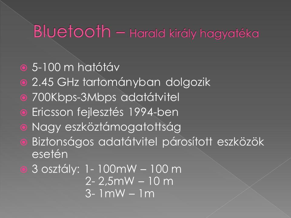  5-100 m hatótáv  2.45 GHz tartományban dolgozik  700Kbps-3Mbps adatátvitel  Ericsson fejlesztés 1994-ben  Nagy eszköztámogatottság  Biztonságos adatátvitel párosított eszközök esetén  3 osztály: 1- 100mW – 100 m 2- 2,5mW – 10 m 3- 1mW – 1m