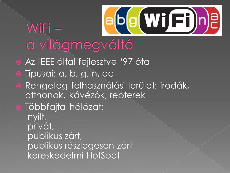  Az IEEE által fejlesztve '97 óta  Típusai: a, b, g, n, ac  Rengeteg felhasználási terület: irodák, otthonok, kávézók, repterek  Többfajta hálózat: nyílt, privát, publikus zárt, publikus részlegesen zárt kereskedelmi HotSpot