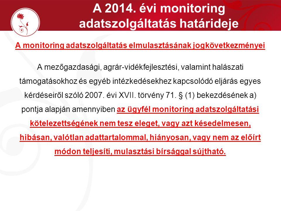 A 2014. évi monitoring adatszolgáltatás határideje A monitoring adatszolgáltatás teljesítésének módja A monitoring adatszolgáltatás elmulasztásának jo