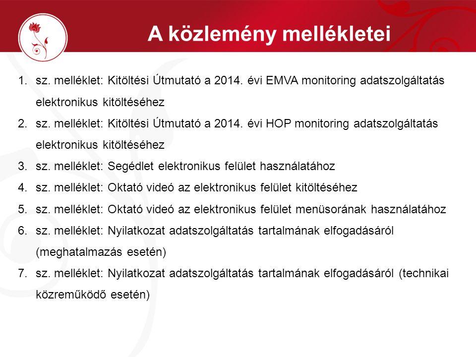 A közlemény mellékletei 1.sz. melléklet: Kitöltési Útmutató a 2014. évi EMVA monitoring adatszolgáltatás elektronikus kitöltéséhez 2.sz. melléklet: Ki