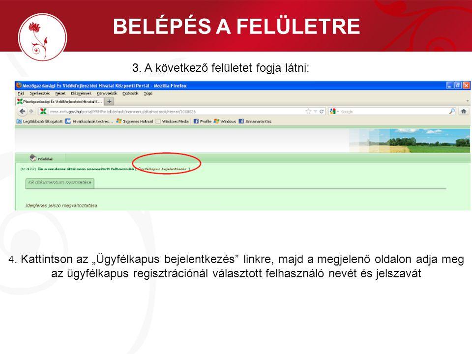 """BELÉPÉS A FELÜLETRE 4. Kattintson az """"Ügyfélkapus bejelentkezés"""" linkre, majd a megjelenő oldalon adja meg az ügyfélkapus regisztrációnál választott f"""