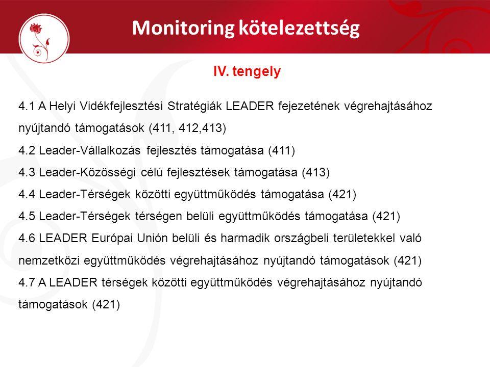 Monitoring kötelezettség IV. tengely 4.1 A Helyi Vidékfejlesztési Stratégiák LEADER fejezetének végrehajtásához nyújtandó támogatások (411, 412,413) 4