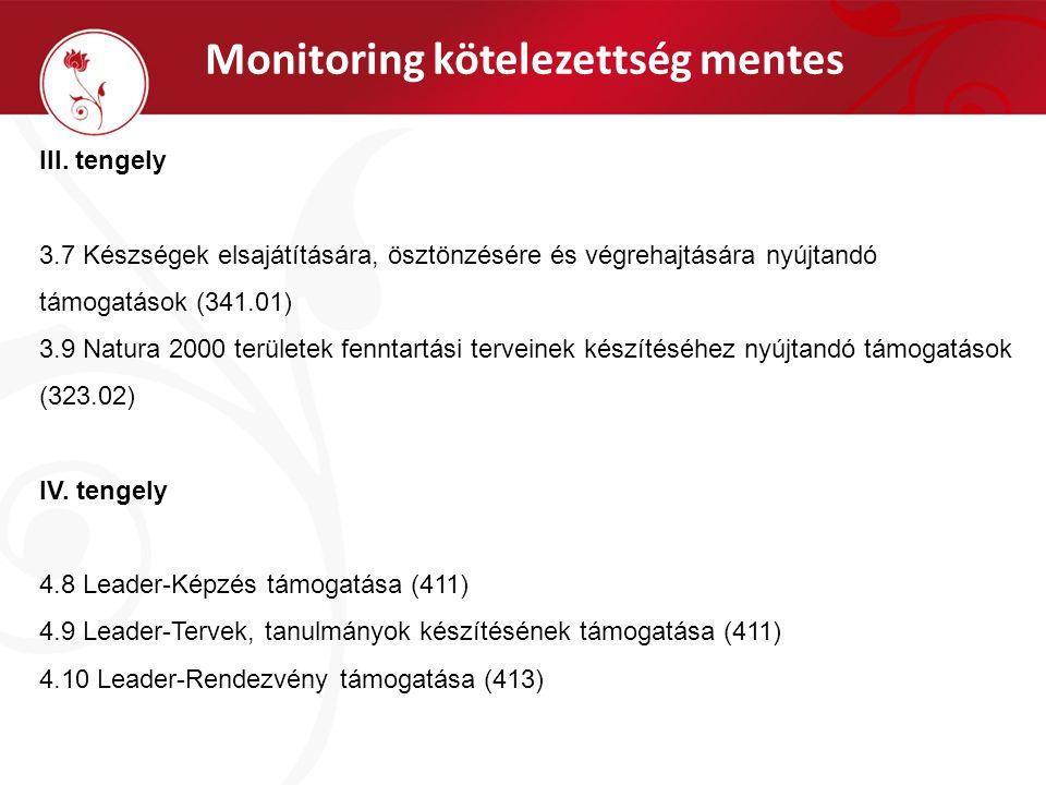 Monitoring kötelezettség mentes III. tengely 3.7 Készségek elsajátítására, ösztönzésére és végrehajtására nyújtandó támogatások (341.01) 3.9 Natura 20