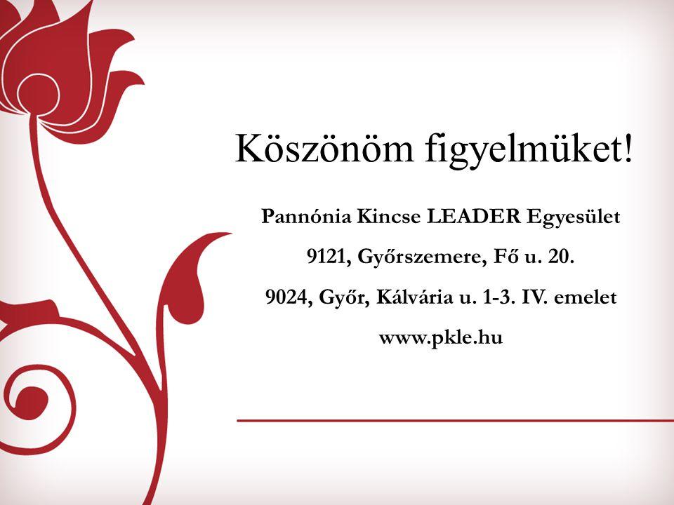 Köszönöm figyelmüket! Pannónia Kincse LEADER Egyesület 9121, Győrszemere, Fő u. 20. 9024, Győr, Kálvária u. 1-3. IV. emelet www.pkle.hu