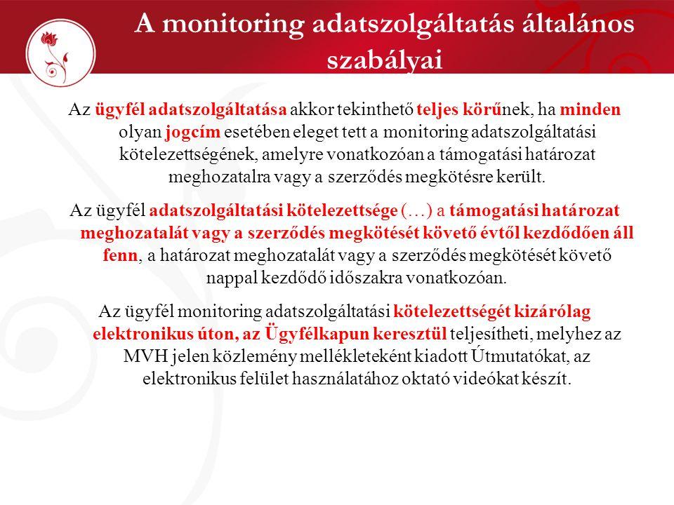 A monitoring adatszolgáltatás általános szabályai Az ügyfél adatszolgáltatása akkor tekinthető teljes körűnek, ha minden olyan jogcím esetében eleget