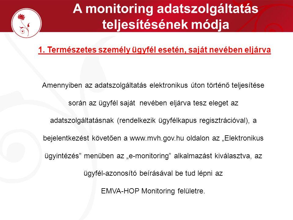 A monitoring adatszolgáltatás teljesítésének módja 1. Természetes személy ügyfél esetén, saját nevében eljárva Amennyiben az adatszolgáltatás elektron