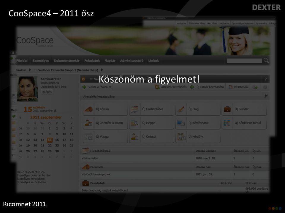 CooSpace4 – 2011 ősz Ricomnet 2011 Köszönöm a figyelmet!