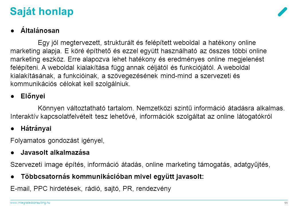 www.integratedconsulting.hu 11 Saját honlap ●Általánosan Egy jól megtervezett, strukturált és felépített weboldal a hatékony online marketing alapja.