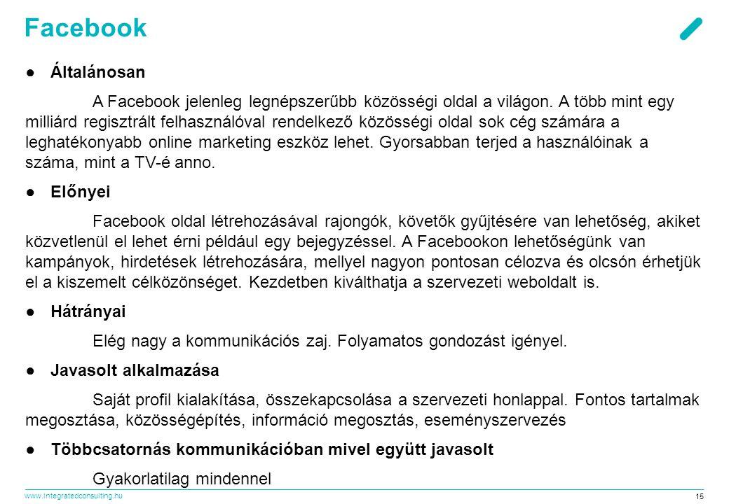 www.integratedconsulting.hu 15 Facebook ●Általánosan A Facebook jelenleg legnépszerűbb közösségi oldal a világon.