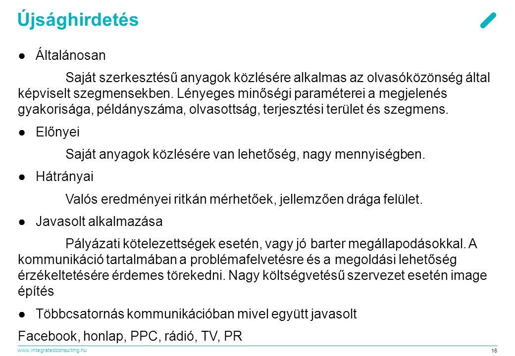www.integratedconsulting.hu 16 Újsághirdetés ●Általánosan Saját szerkesztésű anyagok közlésére alkalmas az olvasóközönség által képviselt szegmensekben.