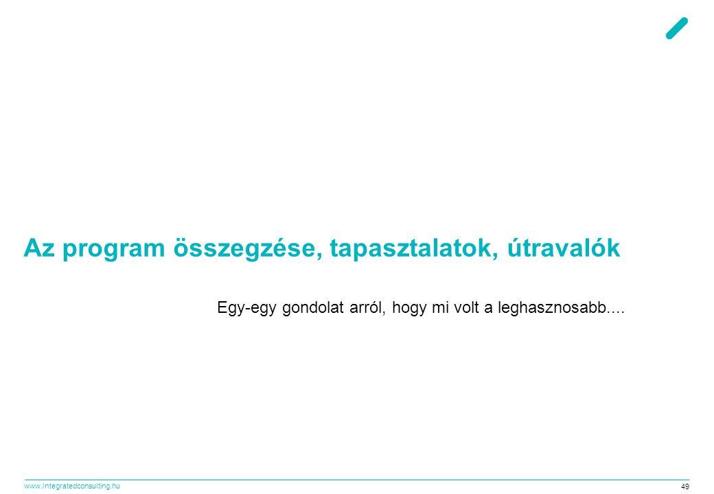 www.integratedconsulting.hu 49 Az program összegzése, tapasztalatok, útravalók Egy-egy gondolat arról, hogy mi volt a leghasznosabb....