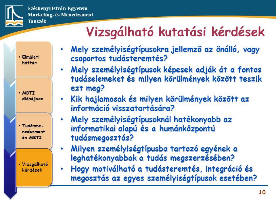 Széchenyi István Egyetem Marketing- és Menedzsment Tanszék Vizsgálható kutatási kérdések 10 •Elméleti háttér •MBTI dióhéjban •Tudásme- nedzsment és MB