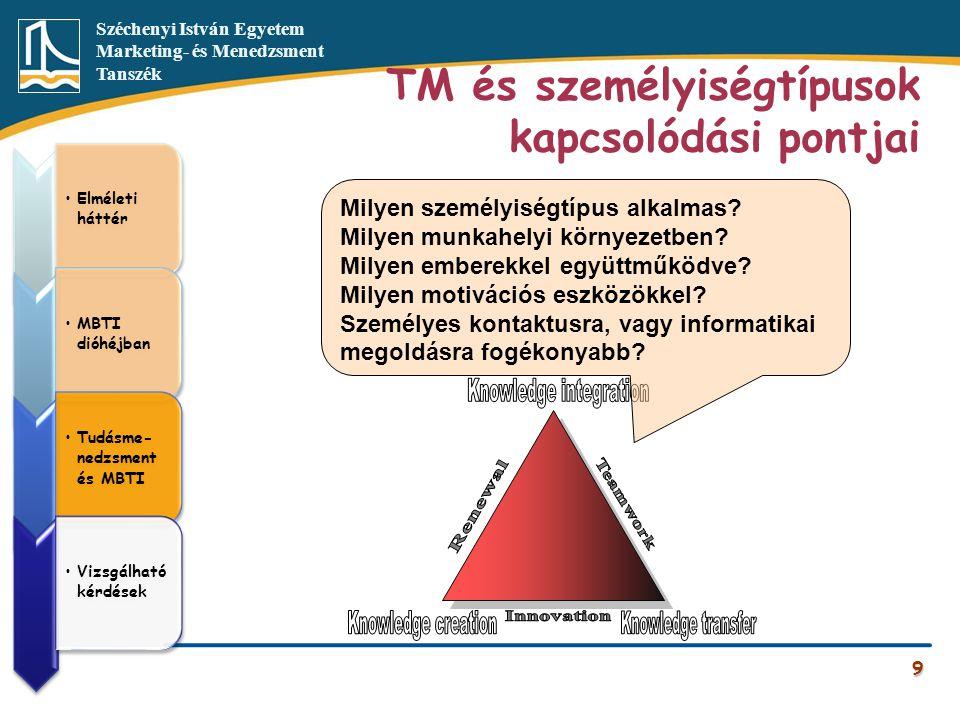 Széchenyi István Egyetem Marketing- és Menedzsment Tanszék TM és személyiségtípusok kapcsolódási pontjai 9 •Elméleti háttér •MBTI dióhéjban •Tudásme-