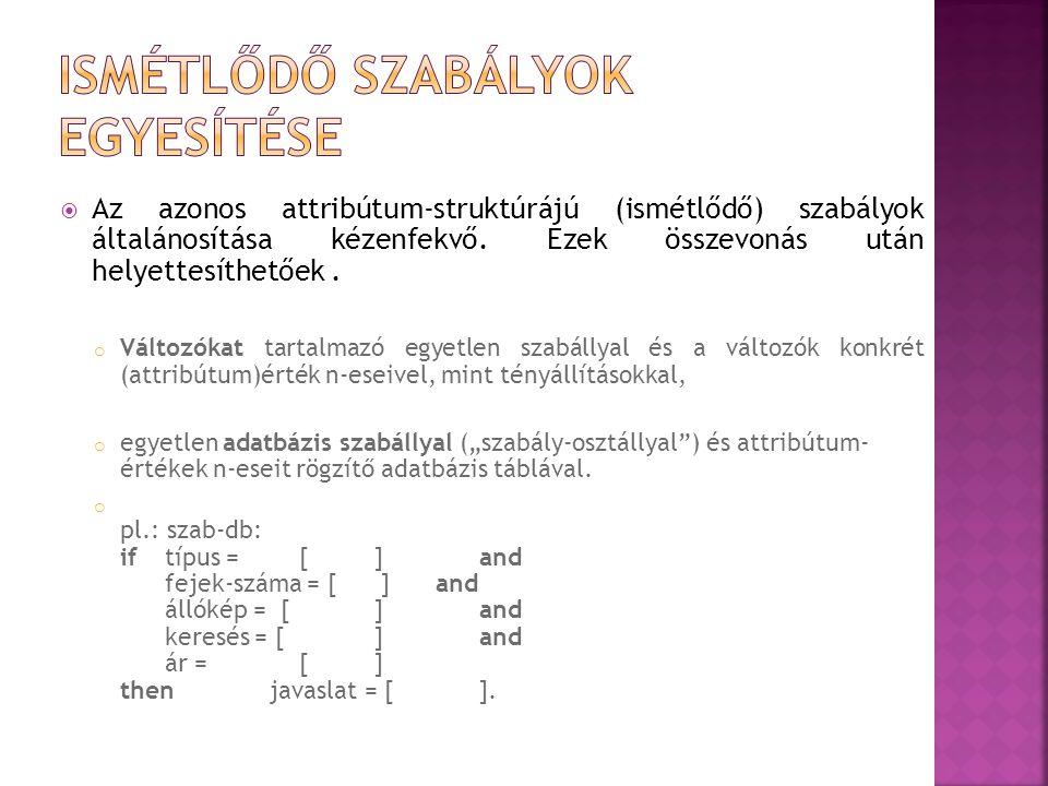  Az azonos attribútum-struktúrájú (ismétlődő) szabályok általánosítása kézenfekvő.