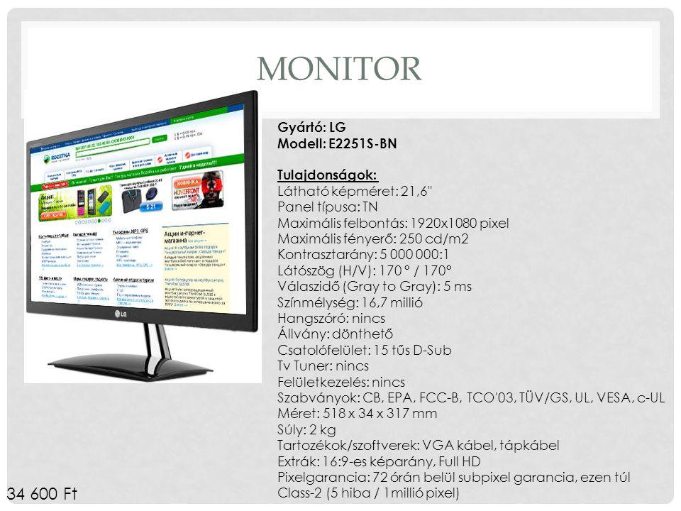 MONITOR Gyártó: LG Modell: E2251S-BN Tulajdonságok: Látható képméret: 21,6