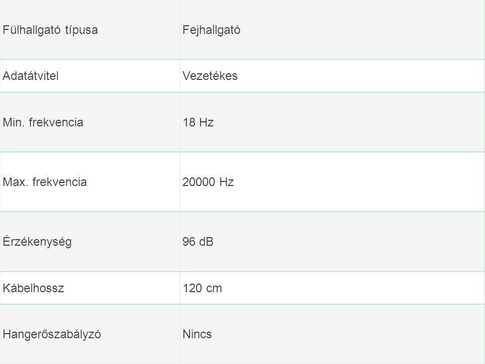 Fülhallgató típusaFejhallgató AdatátvitelVezetékes Min. frekvencia18 Hz Max. frekvencia20000 Hz Érzékenység96 dB Kábelhossz120 cm HangerőszabályzóNinc