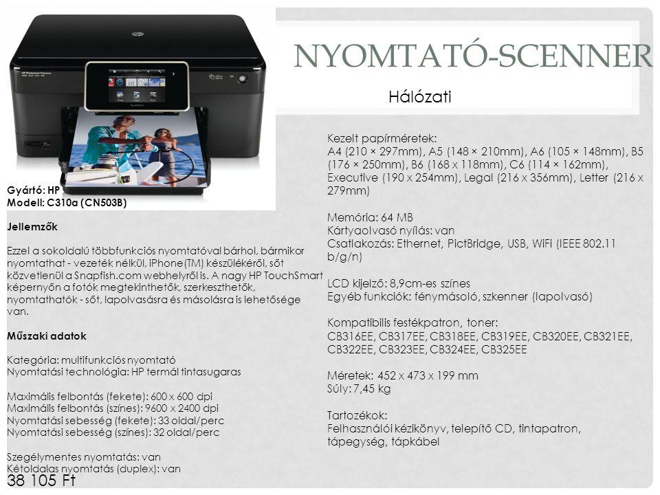 NYOMTATÓ-SCENNER 38 105 Ft Gyártó: HP Modell: C310a (CN503B) Jellemzők Ezzel a sokoldalú többfunkciós nyomtatóval bárhol, bármikor nyomtathat - vezeté