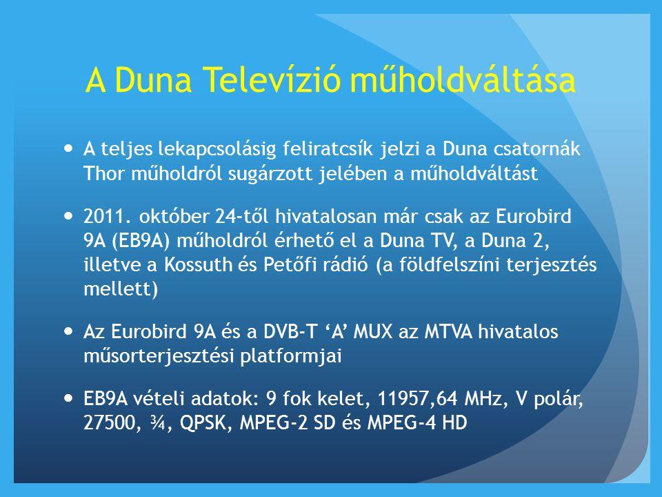A Duna Televízió műholdváltása  A teljes lekapcsolásig feliratcsík jelzi a Duna csatornák Thor műholdról sugárzott jelében a műholdváltást  2011. ok