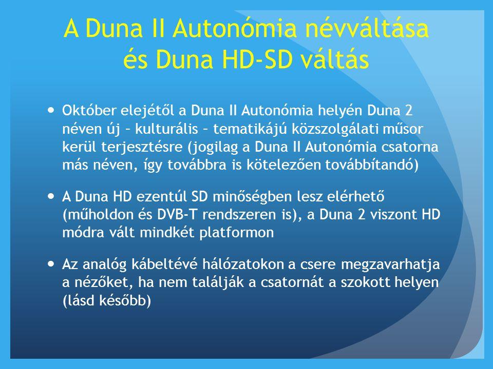A DVB-T hálózatot érintő kérdések  Közös, az 'A' jelű multiplexre költözött az összes közszolgálati csatorna (m1 HD, m2 HD, Duna, Duna 2 HD, MR1, MR2, MR3).