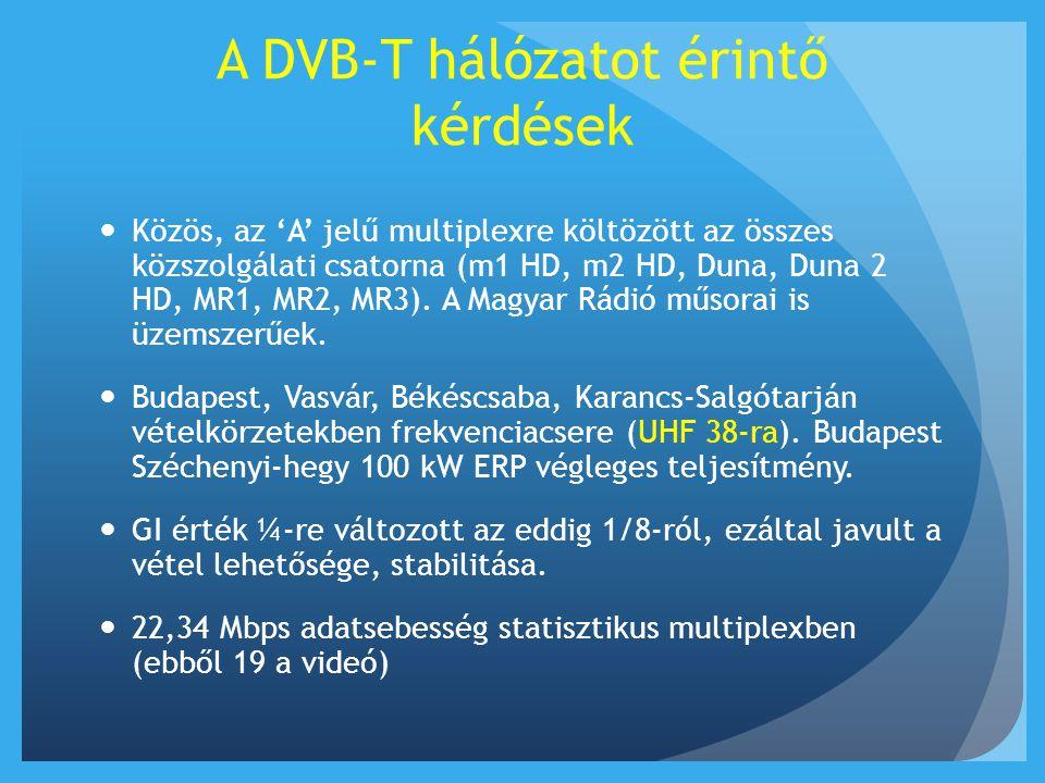 A DVB-T hálózatot érintő kérdések  Kódolatlan a teljes multiplex  Az év során 15 újabb átjátszóadó indul az ellátatlan területek lefedésére, továbbá december 1-től Fehérgyarmat, Aggtelek és Miskolc gerincadók is üzembe állnak.