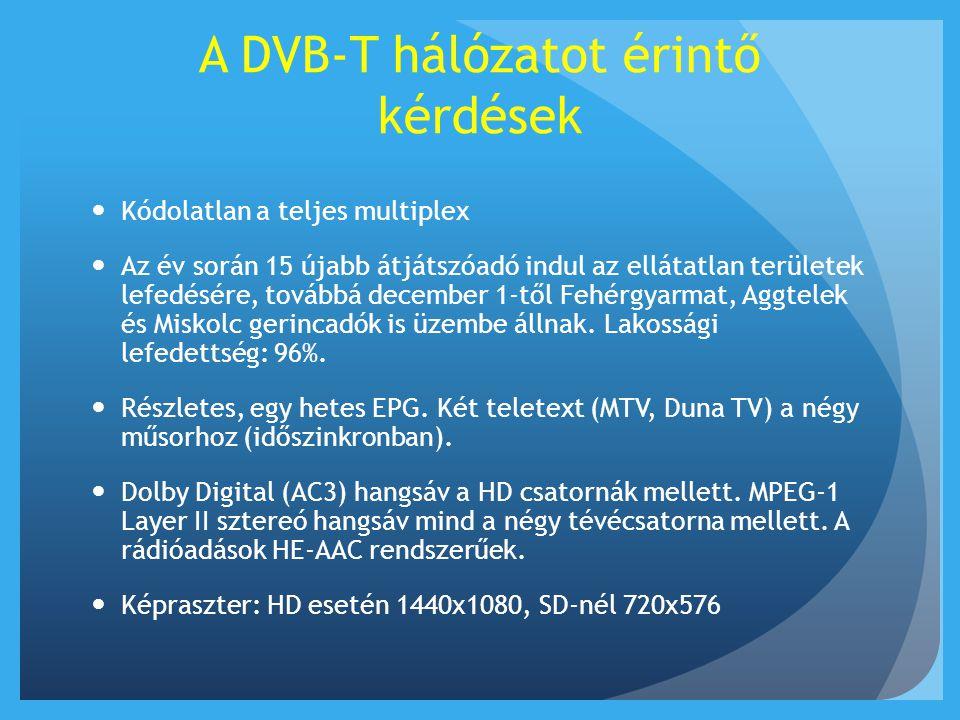 A DVB-T hálózatot érintő kérdések  Kódolatlan a teljes multiplex  Az év során 15 újabb átjátszóadó indul az ellátatlan területek lefedésére, továbbá