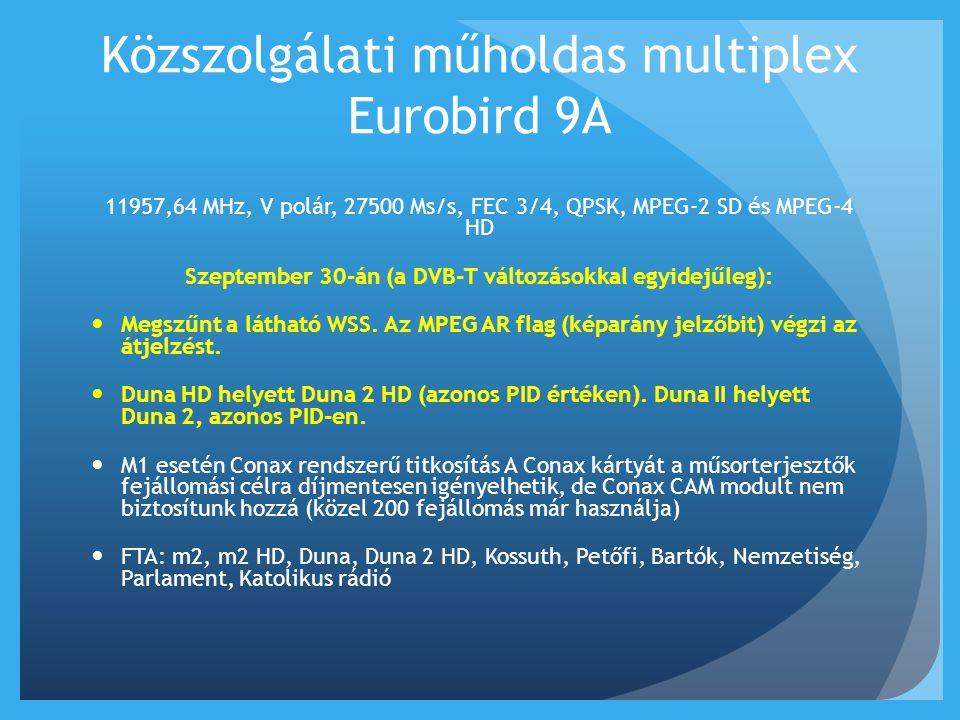 Közszolgálati műholdas multiplex Eurobird 9A 11957,64 MHz, V polár, 27500 Ms/s, FEC 3/4, QPSK, MPEG-2 SD és MPEG-4 HD Szeptember 30-án (a DVB-T változ