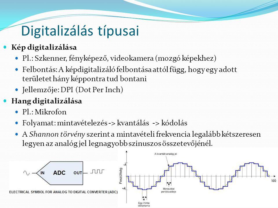 Digitalizálás típusai  Kép digitalizálása  Pl.: Szkenner, fényképező, videokamera (mozgó képekhez)  Felbontás: A képdigitalizáló felbontása attól f
