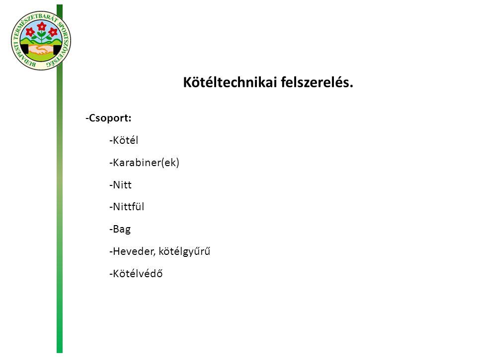 Kötéltechnikai felszerelés. -Csoport: -Kötél -Karabiner(ek) -Nitt -Nittfül -Bag -Heveder, kötélgyűrű -Kötélvédő