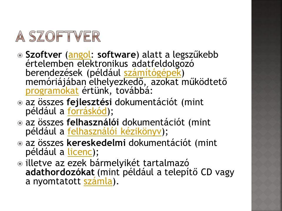  Szoftver (angol: software) alatt a legszűkebb értelemben elektronikus adatfeldolgozó berendezések (például számítógépek) memóriájában elhelyezkedő,