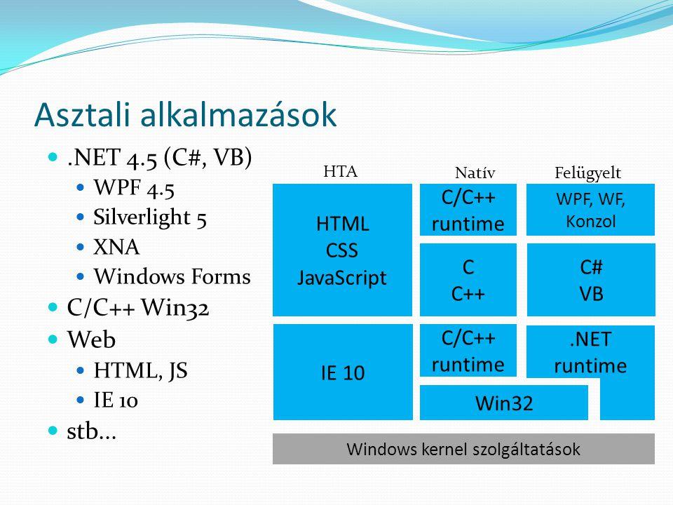 """W8 stílusú alkalmazások Alapvető eltérések  Megjelenés, kezelés eltér az asztali alkalmazásoktól  Alapvetően táblagép szemlélet  Egyszerűsített felület, többpontos érintés- ujjmozgatás alapú vezérlés  Szenzorok  """"A felhasználó akcióira történő azonnali reagálás"""